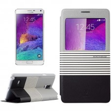Baseus Leather Case with Holder & Call Display for Samsung Galaxy Note 4 Grey+Black)